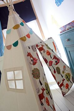 Teepee tent  Woodland Print  MIDI size by moozlehome on Etsy