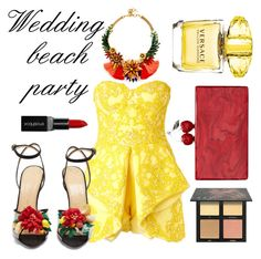 """Sunshine guest"" by jasminsangalyan on Polyvore featuring Mikael D, Charlotte Olympia, Edie Parker, Elizabeth Cole, Versace, Huda Beauty and Smashbox"