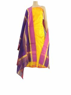 Silk Kurta & Handloom Maheshwari Dupatta Set- Yellow&Purple:This  kurta dupatta set brings together a matka silk kurta piece and jute cotton dupatta