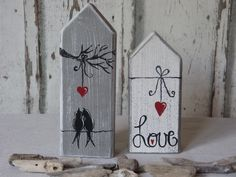 """In my """"LOVE Collection"""" you will find various wooden objects around the topic of LIE . Scrap Wood Crafts, Wood Block Crafts, Barn Wood Crafts, Primitive Crafts, Wooden Crafts, Wood Blocks, Crafts To Sell, Home Crafts, Diy And Crafts"""
