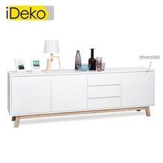 iDeko®Buffet 3 portes 3 tiroirs finition chêne ou blanche réversible L200 cm AARON style scandinave - Achat / Vente buffet - bahut iDeko®Buffet 3 portes 3 tir - Cdiscount