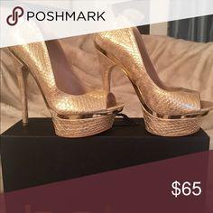 bebe Farah Platform Heels Sexy Gold Embossed worn once! bebe Shoes Heels