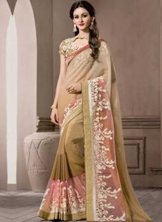 Cream Embroidery Work Georgette Banglori Silk Designer Party Wear Sarees