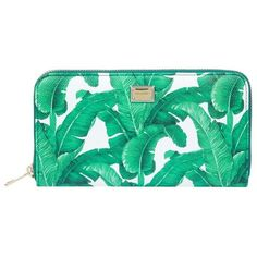 Dolce & Gabbana Banana Leaf Print Leather Zip Around Wallet ($560) ❤ liked on Polyvore featuring bags, wallets, 100 leather wallet, genuine leather bags, green wallet, dolce gabbana wallet and leather bags