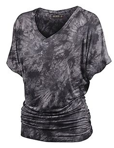 Womens V Neck Short Sleeve Tie Dye Shirring Dolman Top S BLACK. Tie dye and  ombre dolman shirt   Boat neckline and elastic shirring at sides   Basic and  ... 4c48f8aa7964