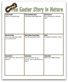 Free science/nature study notebooking page - ->This nature walk recounts the story of Jesus' final week and celebrates His resurrection! Easter Festival, Resurrection Day, Easter Story, Jesus Stories, Teaching Biology, Holy Week, Easter Activities, Easter Celebration, Nature Journal