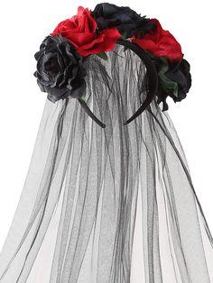 Jovitec Rose Headband Floral Crown Flower Veil Headpiece for Day of The Dead Halloween Costume (Red and Black) Flower Crown Veil, Floral Crown, Rose Headband, Floral Headbands, Halloween Costumes, Women Halloween, Headpiece, Tulle, Recital