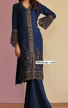 Navy Blue Jacquard Viscose Suit | Buy Mohagni Pakistani Dresses and Clothing online in USA, UK
