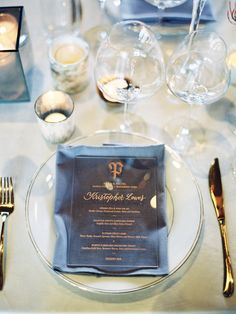 Add a special touch to your dinner table-scape with modern acrylic dinner menus featuring your guest names written in rose gold calligraphy | designed and crafted for a Blackberry Farm wedding by www.chavelli.com  #wedding #inspiration #calligraphy #placecards #menus #rosegold