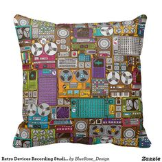 Shop Retro Devices Recording Studio Throw Pillow created by BlueRose_Design. Custom Pillows, Decorative Pillows, Vintage Pillows, Recording Studio, Pillow Talk, Cotton Pillow, Decorating Your Home, Cyber, Colorful Backgrounds