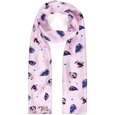Louise Coleman - Silk Skinny Kawaii Eyes Scarf ($105) ❤ liked on Polyvore featuring accessories, scarves, long silk scarves, pink shawl, oblong silk scarves, pink silk scarves and long shawl