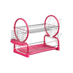 Stylish \u0026 practical Hot pink washing up drainer that holds cutlery utensils glasses \u0026 up to 17 plates. Features a removable cutlery holder \u0026 drip tray.  sc 1 st  Pinterest & 2 Tier Dish Drainer Chrome/Black Plastic Tray Glass and Utensil ...