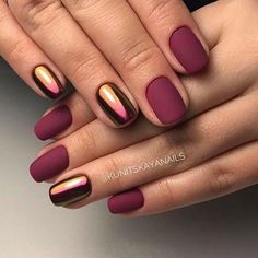 Beautiful autumn nails Fall nails 2017 Ideas of matte nails Ideas of plain nails Maroon nails Maroon nails with a picture Matte nails Mirror nails Maroon Nail Designs, Winter Nail Designs, Dark Nail Designs, Light Colored Nails, Light Nails, Gorgeous Nails, Pretty Nails, Crome Nails, Nailart