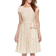 Beige Cap-Sleeve Lace Dress - jcpenney. $40.00