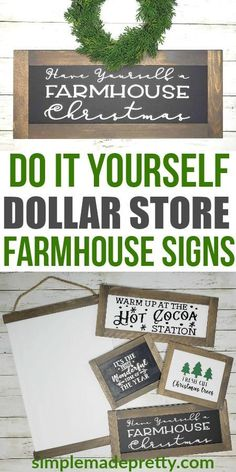 You wouldn't believe these farmhouse signs are made using dollar store items! DIY Farmhouse decor dollar store, DIY Dollar Store Christmas Decor, DIY Dollar Store Crafts, Dollar store DIY decor, DIY F Dollar Tree Decor, Dollar Tree Crafts, Dollar Tree Cricut, Dollar Tree Fall, Dollar Tree Finds, Dollar Store Hacks, Dollar Stores, Dollar Store Gifts, Dollar Items