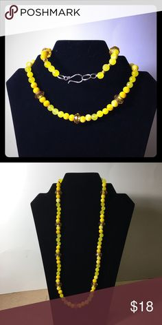 "Yellow beaded necklace jade and glass lampwork 24"" Long 24"" yellow necklace of jade and glass lamp work with a silver fishhook clasp handcrafted by Skip in North Carolina Jewelry Necklaces"