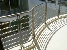 Stainless balcony rail Steel Grill Design, Steel Railing Design, Balcony Grill Design, Balcony Railing Design, Entrance, Beach House, Sunrise, Villa, Stairs