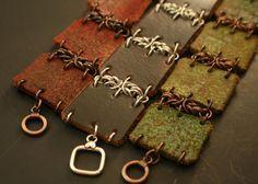 Items op Etsy die op Lederen armband, vrouwen lederen armband, koperen armband, zilveren lederen armband, Chainmaile armband, ketting lederen armband #1289, #1290, #1347 lijken