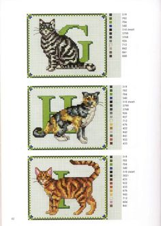 abc gatos G-I Cat Cross Stitches, Counted Cross Stitch Patterns, Cross Stitch Charts, Cross Stitch Designs, Cross Stitching, Cross Stitch Letters, Beaded Cross Stitch, Cross Stitch Animals, Cross Stitch Embroidery