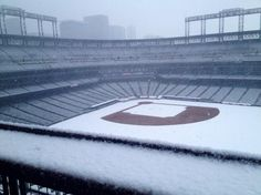 Fallen snow on Coors Field; Denver, Colorado