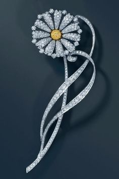 Yellow diamond daisy brooch. From The Tiffany Great Gatsby Collection - jewelry inspired by Baz Luhrmann's film in collaboration with Catherine Martin.