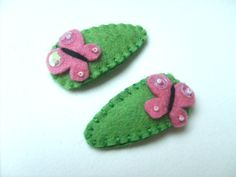 Butterflies hair clips     hand embroidered with wool felt