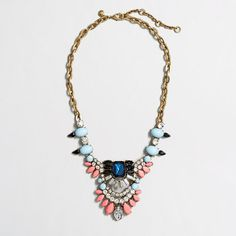 J.Crew Factory - Factory dangling stone brooch necklace in navy $26.99