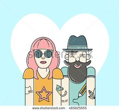 Cool vector hipster couple in love. Urban citizen character. Vector line illustration.