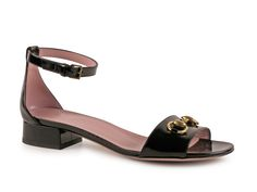 Gucci low heels ankle strap sandals in black patent leather - Italian Boutique €333