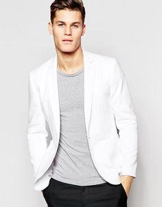 ASOS | ASOS Super Skinny Blazer in White Jersey at ASOS