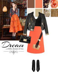 """Orange skirt"" by bogira on Polyvore"