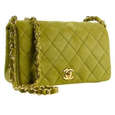 Chanel Green Suede Flap Bag