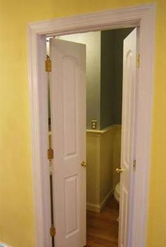 Double doors for the basement bathroom - that'd free a little space in there. Double Closet Doors, French Closet Doors, Double Doors Interior, French Doors Bedroom, Interior Doors, Narrow French Doors, Double French Doors, French Doors Patio, Closet Door Handles