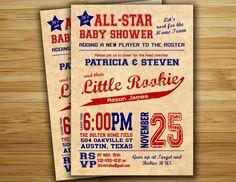 Baseball baby shower invitation - baseball boy baby shower  invite- DIY baseball couples shower sports printable decorations. $18.00, via Etsy.