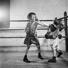 "Stanley Kubrick (1946) ""Boxing [at the] Police Athletic League [Two boys boxing.]"""