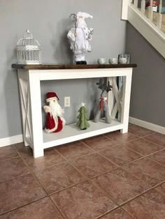 DIY Farmhouse X-Console Table - Restoring Handmade Diy Furniture Plans, Wood Furniture, Functional Furniture, Diy Entryway Table, Entrance Table, Diy Table, Diy Farmhouse Table, Rustic Farmhouse, Rustic Table