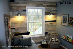Pallet wall in boys room