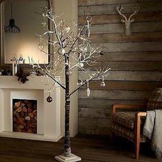 96 led warm white 5ft 150cm white snowy pre lit christmas twig tree chabby chic