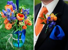 tuxedos with blue and orange color theme | Intimate Wedding at The Oaks | Heather Bee Photo - Annapolis Wedding ...