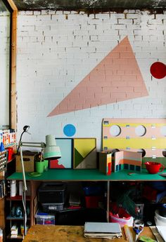 creative spaces to work at - plus cool wall drawing/graphics (easy and cheap to do)