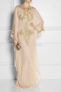 deslumbrante 2014 manga longa dubai fantasia abaya islâmico champanhe kaftan vestidos vestido de baile em Vestidos de Noite de Roupas & acessórios no AliExpress.com | Alibaba Group