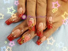 Nails red and flower