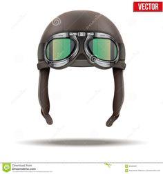 Retro Aviator Pilot Helmet With Goggles. Stock Vector - Image ...