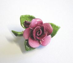 Vintage China Flower Brooch Deep Pink Rose Made by TheWhistlingMan