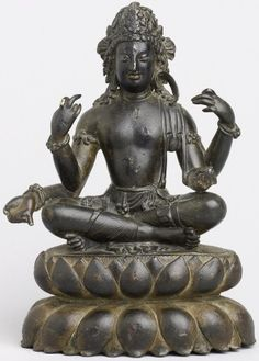 7th century, Swat Valley, bodhisattva Avalokiteshvara with 4 arms (chaturbhuja), bronze with silver and copper inlay, private collection, published by Rossi