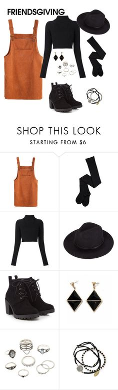"""""""Friendsgiving"""" by ashleyrangel ❤ liked on Polyvore featuring Balmain, Red Herring, Charlotte Russe and Feather & Stone"""