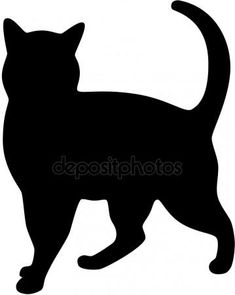 silhouette chat: Silhouette de chat noir Illustration and like OMG! get some yourself some pawtastic adorable cat apparel! Vogel Silhouette, Black Cat Silhouette, Cat Quilt Patterns, Applique Patterns, Cat Template, Templates, Cat Crafts, Cat Pattern, Cat Drawing