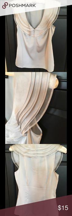 Ann Taylor Silk NWOT Beautiful silver gray ruffle layered silk blouse. NWOT Ann Taylor Tops Blouses
