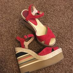 """Anthropologie red wedges Heel measures 5"""" great quality, made in Spain, runs small IMO fit like a size 8, but are a size 9 NO TRADES Anthropologie Shoes Espadrilles"""