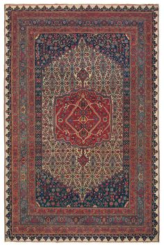Bijar (Bidjar), 9ft 4in x 14ft 6in, Circa 1875.  Offering an entrancing delicacy of line seldom found in carpets of this type, this best-of-the-best carpet demonstrates a technical mastery that is seldom achieved, even in the highly regarded Bijar (Bidjar) style. With infinite finesse, countless small-scale designs unify the medallion, field and borders with a common scale and precision. This creates an atmosphere of great regality, which is enhanced by a plethora of saturated jewel tones.